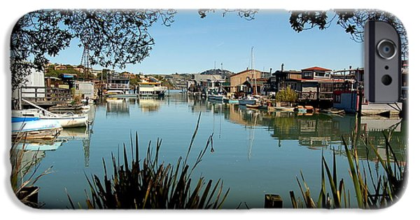 Sausalito iPhone Cases - Framed Harbor iPhone Case by S Matthew Wehe