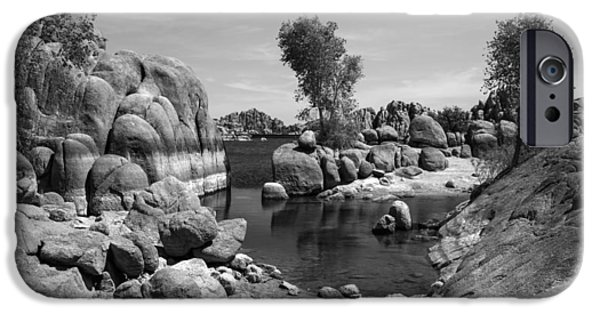 Watson Lake iPhone Cases - Framed in Granite iPhone Case by Lorraine Harrington