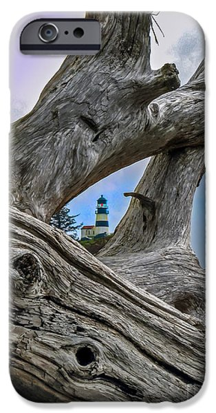 Recently Sold -  - Haybale iPhone Cases - Framed Lighthouse iPhone Case by Robert Bales