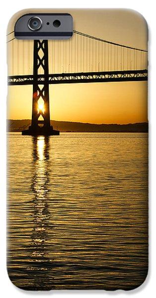 Bay Bridge iPhone Cases - Framing the Sunrise at San Franciscos Bay Bridge in California iPhone Case by Georgia Mizuleva