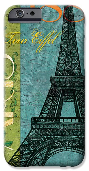 Maps Paintings iPhone Cases - Francaise 1 iPhone Case by Debbie DeWitt