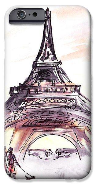 Dog Walking iPhone Cases - France Sketches Walking To The Eiffel Tower iPhone Case by Irina Sztukowski