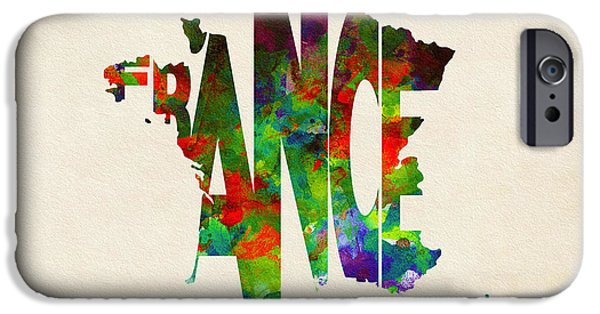 Different Worlds iPhone Cases - France Typographic Watercolor Map iPhone Case by Ayse Deniz
