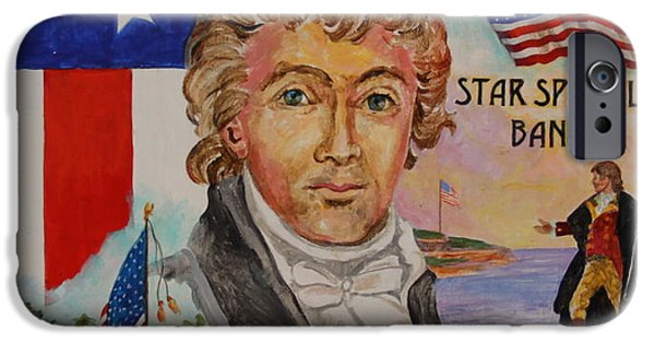 Star Spangled Banner Paintings iPhone Cases - Frances Scott Key iPhone Case by Jan Mecklenburg