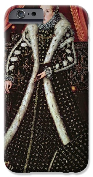 Dog And Toy iPhone Cases - Frances Sidney, Countess Of Sussex, C.1565 Panel iPhone Case by or Muelen, Steven van der Meulen