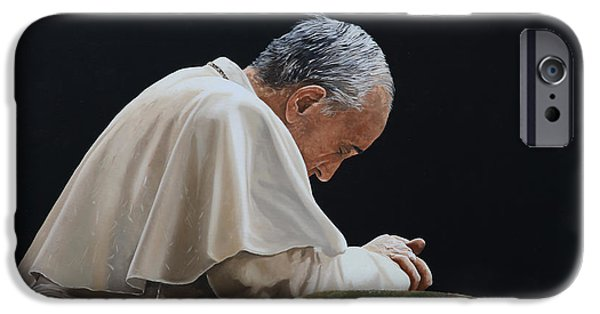 Pope Paintings iPhone Cases - Francesco iPhone Case by Guido Borelli