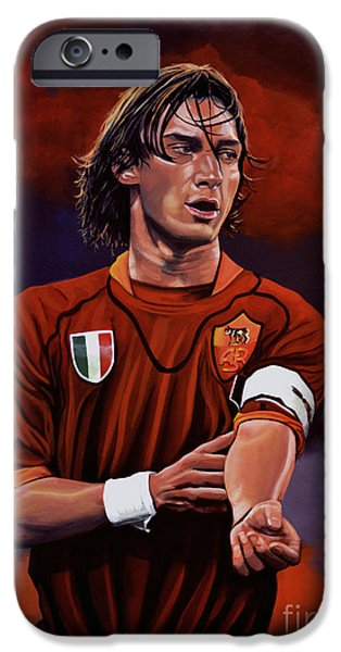 Idol Paintings iPhone Cases - Francesco Totti iPhone Case by Paul Meijering