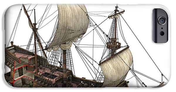 Upper Deck iPhone Cases - Francis Drakes Golden Hind, 16th Century iPhone Case by Jose Antonio Pe??as