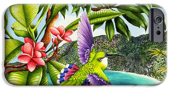 Flying Animals iPhone Cases - Frangipani Flights Of Fancy iPhone Case by Carolyn Steele