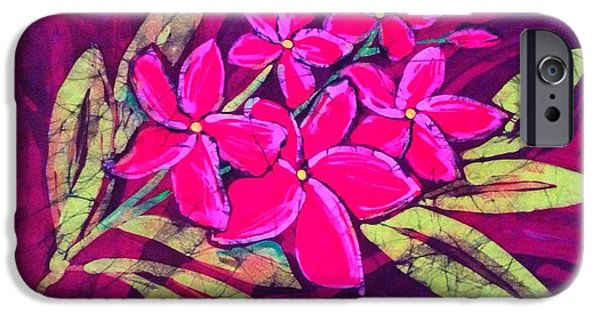 Pink Tapestries - Textiles iPhone Cases - Frangipani iPhone Case by Kay Shaffer