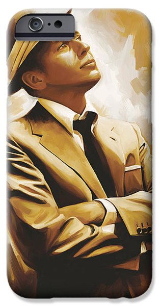 Celebrities Portrait iPhone Cases - Frank Sinatra Artwork 1 iPhone Case by Sheraz A