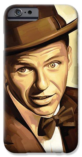 Celebrities Art iPhone Cases - Frank Sinatra Artwork 2 iPhone Case by Sheraz A