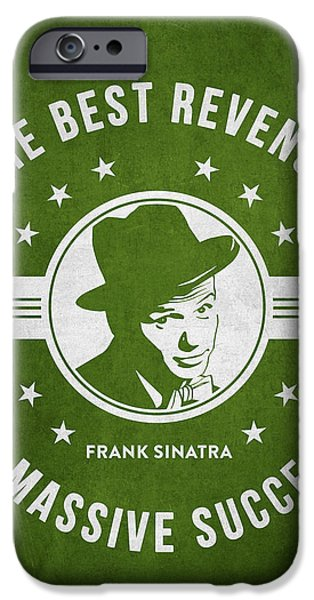 Frank Sinatra iPhone Cases - Frank Sinatra - Green iPhone Case by Aged Pixel