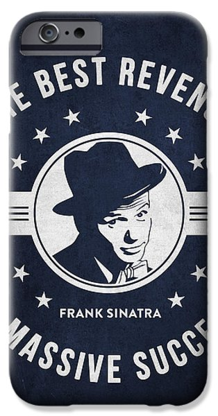 Frank Sinatra iPhone Cases - Frank Sinatra - Navy Blue iPhone Case by Aged Pixel