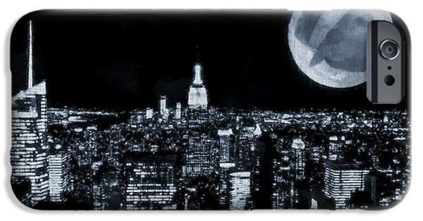 Skylines Mixed Media iPhone Cases - Frank Sinatra New York City Moon iPhone Case by Dan Sproul
