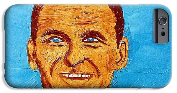 Frank Sinatra Paintings iPhone Cases - Frank Sinatra Oil Painting iPhone Case by Saundra Myles