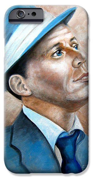Frank Sinatra Paintings iPhone Cases - Frank Sinatra Ol Blue Eyes iPhone Case by Patrice Torrillo