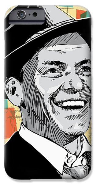 Moon iPhone Cases - Frank Sinatra Pop Art iPhone Case by Jim Zahniser