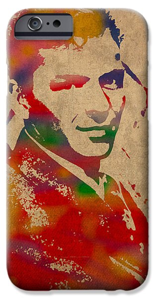 Singer Mixed Media iPhone Cases - Frank Sinatra Watercolor Portrait on Worn Distressed Canvas iPhone Case by Design Turnpike