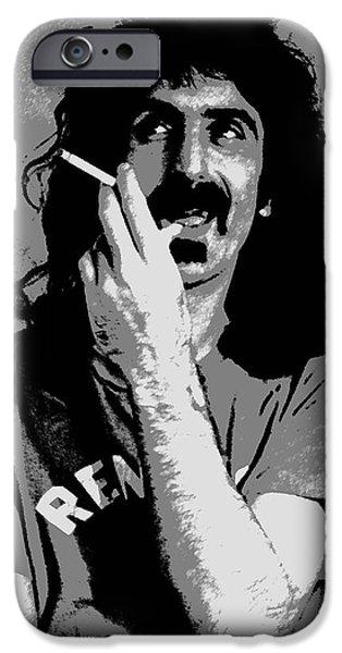 Frank Zappa - Chalk and Charcoal iPhone Case by Joann Vitali