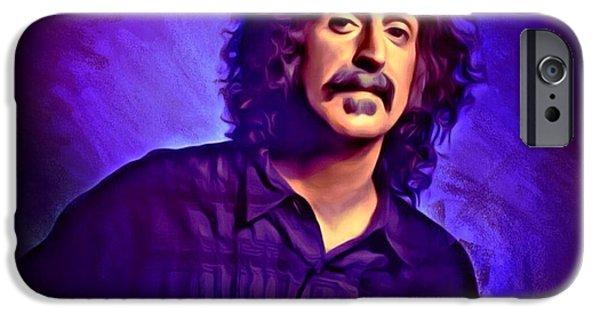 Digital Designs iPhone Cases - Frank Zappa Portrait iPhone Case by Scott Wallace