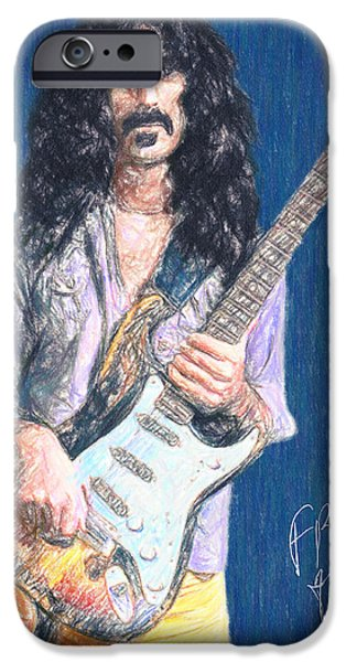 Music Drawings iPhone Cases - Frank Zappa iPhone Case by Taylan Soyturk