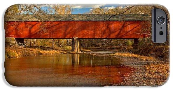 Bucks County iPhone Cases - Frankenfield Bridge Across Tinicum Creek iPhone Case by Adam Jewell