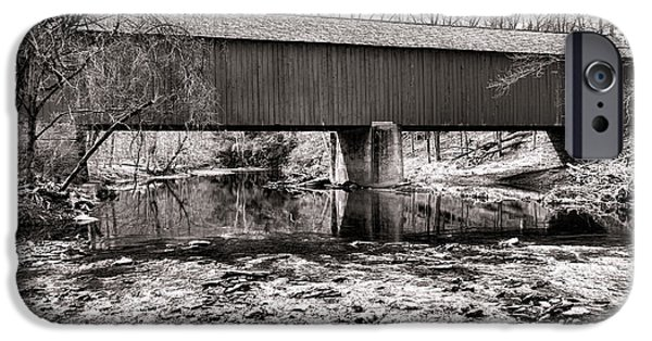Bucks County iPhone Cases - Frankenfield Bridge over the Tinicum Creek iPhone Case by Olivier Le Queinec