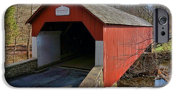 Covered Bridge iPhone Cases - Frankenfield Covered Bridge iPhone Case by Olivier Le Queinec