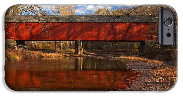 Bucks County iPhone Cases - Frankenfield Covered Bridge Reflections iPhone Case by Adam Jewell