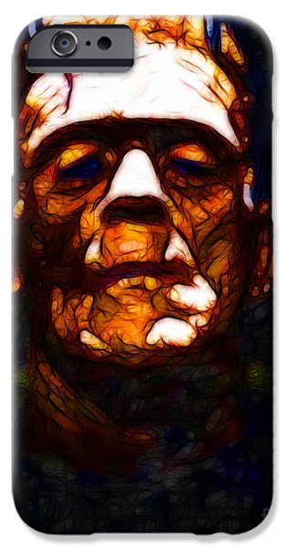 19th Century Digital Art iPhone Cases - Frankenstein - Abstract iPhone Case by Wingsdomain Art and Photography