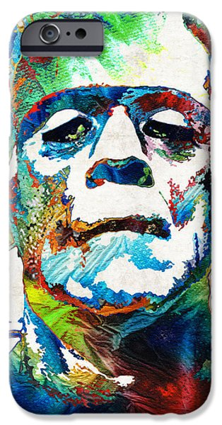 Fear iPhone Cases - Frankenstein Art - Colorful Monster - By Sharon Cummings iPhone Case by Sharon Cummings