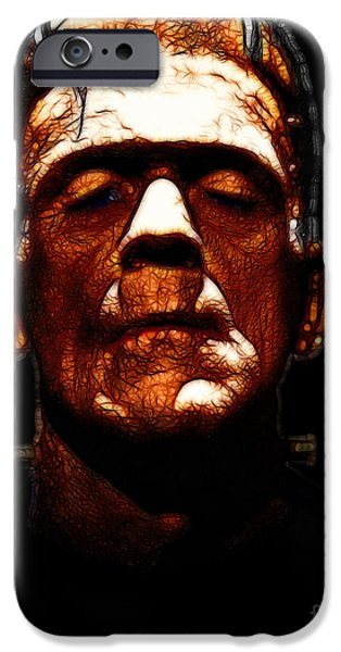 19th Century Digital Art iPhone Cases - Frankenstein - Black iPhone Case by Wingsdomain Art and Photography