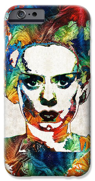 Fear iPhone Cases - Frankenstein Bride Art - Colorful Monster Bride - By Sharon Cummings iPhone Case by Sharon Cummings