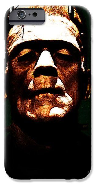 19th Century Digital Art iPhone Cases - Frankenstein - Dark iPhone Case by Wingsdomain Art and Photography