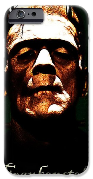 19th Century Digital Art iPhone Cases - Frankenstein - Dark - With Text iPhone Case by Wingsdomain Art and Photography