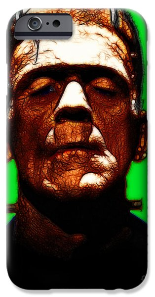 19th Century Digital Art iPhone Cases - Frankenstein - Green iPhone Case by Wingsdomain Art and Photography