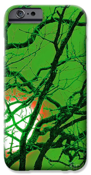 Mystical Landscape Mixed Media iPhone Cases - Frankenstein Moon iPhone Case by First Star Art