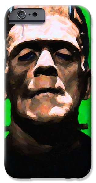 19th Century Digital Art iPhone Cases - Frankenstein - Painterly - Green iPhone Case by Wingsdomain Art and Photography