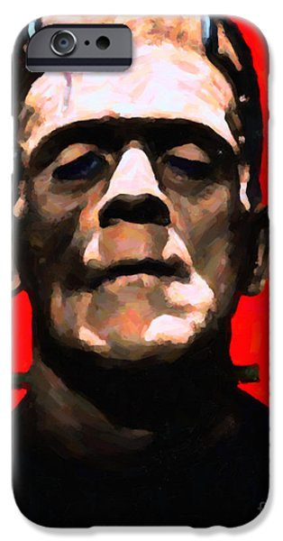 19th Century Digital Art iPhone Cases - Frankenstein - Painterly - Red iPhone Case by Wingsdomain Art and Photography
