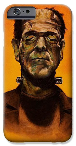 Abnormal Pastels iPhone Cases - Frankensteins Monster iPhone Case by Brent Andrew Doty