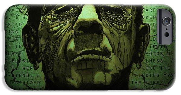 Earth Tones Drawings iPhone Cases - Frankensteins Monster dark variant iPhone Case by Ryan May