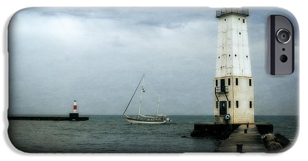 Michelle iPhone Cases - Frankfort Lighthouse with Sailboat iPhone Case by Michelle Calkins