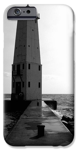 Michelle iPhone Cases - Frankfort Michigan Lighthouse ll iPhone Case by Michelle Calkins