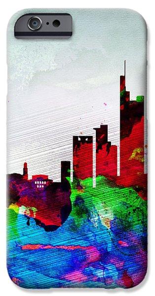 Panoramic Digital iPhone Cases - Frankfurt Watercolor Skyline iPhone Case by Naxart Studio
