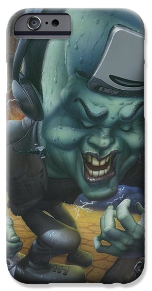 Airbrush iPhone Cases - Frankinstein Playing The Air Guitar - Parody - Illustration - Monster Monsters - Humorous iPhone Case by Walt Curlee