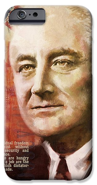 Thomas Jefferson Paintings iPhone Cases - Franklin D. Roosevelt iPhone Case by Corporate Art Task Force