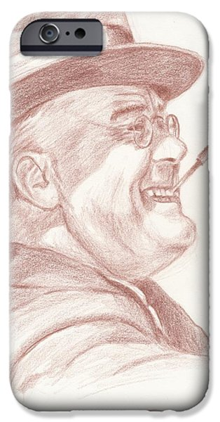 Franklin Drawings iPhone Cases - Franklin D. Roosevelt iPhone Case by Reggie Rivera