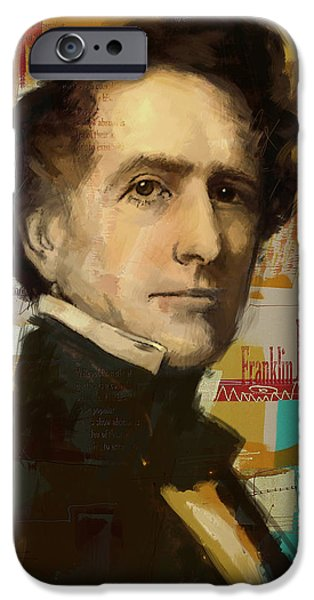 Franklin iPhone Cases - Franklin Pierce iPhone Case by Corporate Art Task Force