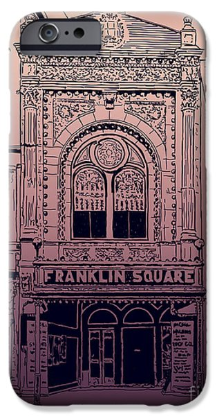1950s Movies Mixed Media iPhone Cases - Franklin Square Theatre iPhone Case by Megan Dirsa-DuBois